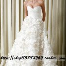 New sexy Prom/Ball/Evening strapless white WeddingDress Custom Size  voile&satin W002-75