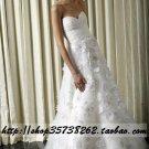 New sexy Prom/Ball/Evening strapless white WeddingDress Custom Size  voile&satin W002-78