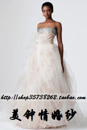 sexy Ball Gown Strapless Floor Length Organza wedding dress for brides Custom Size W002-82
