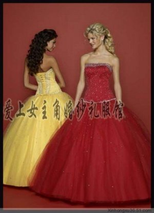 Sexy Ball Gown Prom/Ball/Evening strapless Red Yellow WeddingDress Custom Size  voile&satin W003-7