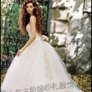 New sexy Ball Gown Prom/Ball/Evening strapless white WeddingDress Custom Size  voile&satin W003-12