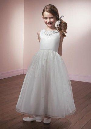 A-line Round-neck Knee-Length Organza Flower Girl Dress Custom Size WG003-3