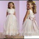 A-Line V-neck Tea-length organza Flower girls Dress Custom Size WG003-6
