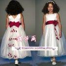 A-line Around-neck kness-Length Organza Flower Girl Dress Custom Size WG004-23