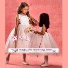 A-line Jewel-neck kness-Length Organza Flower Girl Dress Custom Size WG004-26