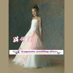 A-line spagetti straps floor-Length Organza Flower Girl Dress Custom Size WG004-33