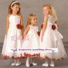 A-line Around-neck kness-Length Organza Flower Girl Dress Custom Size WG004-47