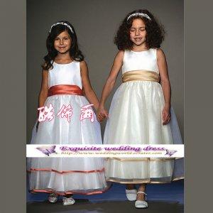 A-line Around-neck kness-Length Organza Flower Girl Dress Custom Size WG004-64