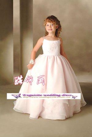 A-line Spagetti Straps tea-Length Organza Flower Girl Dress Custom Size WG004-68