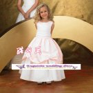 A-line Around-neck tea-Length Satin Flower Girl Dress Custom Size WG004-85