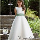 A-line Round-neck kness-length Satin Flower girls Dress Custom Size WG005-4