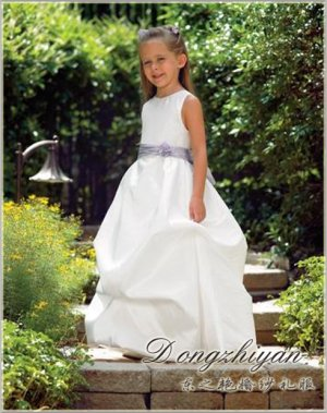A-line Round-neck tea-length Satin Flower girls Dress Custom Size WG005-9
