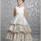 A-line V-neck tea-length Satin Flower girls Dress Custom Size WG005-32