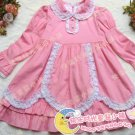 A-line Round-neck kness-Length pink cotton Flower Girl Dress WG006-5