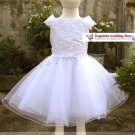 A-line Round-neck kness-Length white organza Flower Girl Dress WG007-1