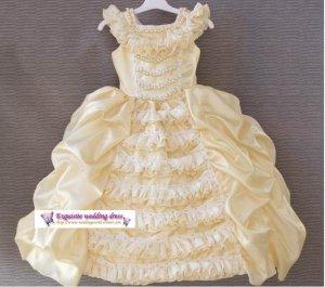 A-line Round-neck kness-Length beige satin Flower Girl Dress WG007-3
