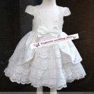 A-line Round-neck kness-Length white satin&organza Flower Girl Dress WG007-5