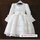 A-line Round-neck kness-Length white satin&organza Flower Girl Dress WG007-8