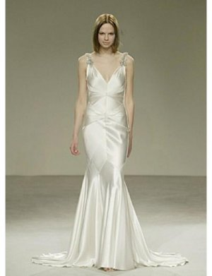 Mermaid V-neck Chapel train Satin wedding dress for brides 2010 style(WDA0553)