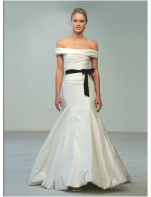 Mermaid Off-the-shoulder Floor-length Taffeta wedding dress for brides 2010 style(WDA0542)