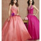 Ball Gown Halter top Floor Length Satin wedding dress for brides 2010 style(WDE0158)