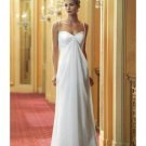 Column Spagetti Straps Sweep train Chiffon wedding dress for brides 2009 Style(WED0072)
