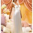 Column/Sheath V-neck Sweeping Train satin wedding dress(WD35332)