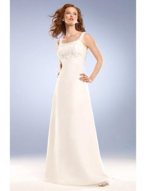 Empire Square Sweeping train Chiffon wedding dress for brides 2010 Style(WED0047)