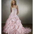 A-Line/Princess Strapless Chapel Train Taffeta wedding dress for brides 2010 style(WDE0133)