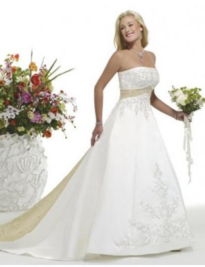 A-Line/Princess Strapless Chapel Train Satin wedding dress for brides new style(WDE0017)