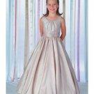 A-Line Round-neck Floor- Length Taffeta Flower girls Dress 2010 Style(FGD0017)