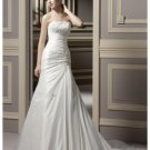 A-Line/Princess Strapless Chapel Train Satin wedding dress for brides new Style(WDS0040)