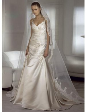 A-Line/Princess V-neck Chapel Train Satin wedding dress for brides new Style(WDS0042)
