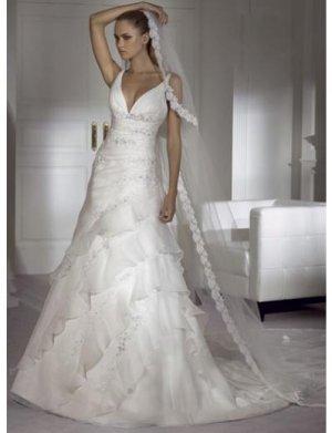 A-Line/Princess V-neck Chapel Train Organza wedding dress for brides new Style(BST0043)