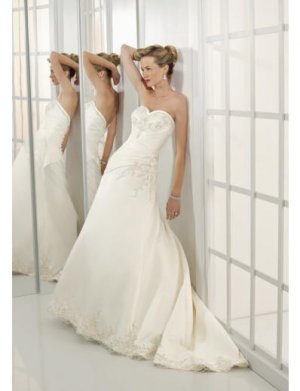 A-Line/Princess Sweetheart Chapel Train Satin wedding dress for brides new style(WDE0077)