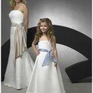 A-line Spaghetti Straps Tea-length Satin Flower girls Dress new style(FGD0064)