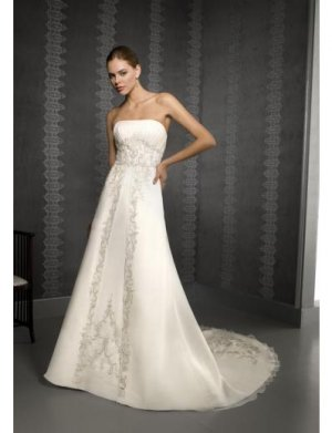 A-Line/Princess Strapless Chapel Train Satin wedding dress for brides new style(WDE0049)