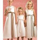 A-line Scoop Knee-Length Satin Flower Girl Dress 2010 style(FGD0117)
