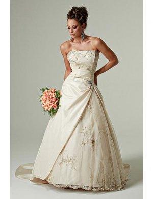 A-Line/Princess Strapless Chapel Train Satin Lace wedding dress(WEDS0028) for brides new Style