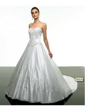 A-Line/Princess spaghetti straps sweetheart Chapel Train satin wedding dress (WD5829) for brides