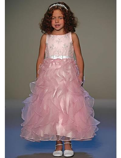 A-Line Round-neck Tea-length Organza Flower girls Dress new Style(FGD0038)