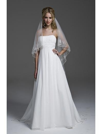 A-Line/Princess Strapless Chapel Train Chiffon wedding dress(WEDS0020) for brides new style