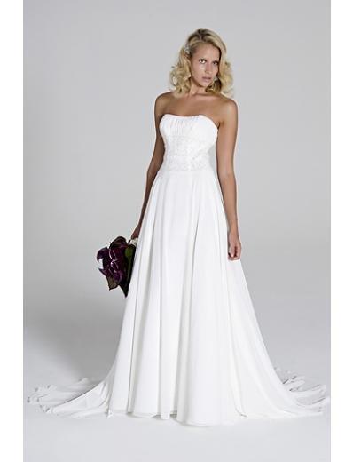 A-Line/Princess Strapless Chapel Train Chiffon wedding dress(WEDS0021) for brides new style