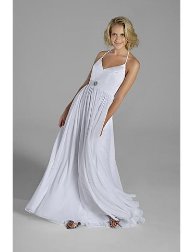 A-Line/Princess spaghetti straps Brush Train Chiffon wedding dress(WEDS0023) for brides new style