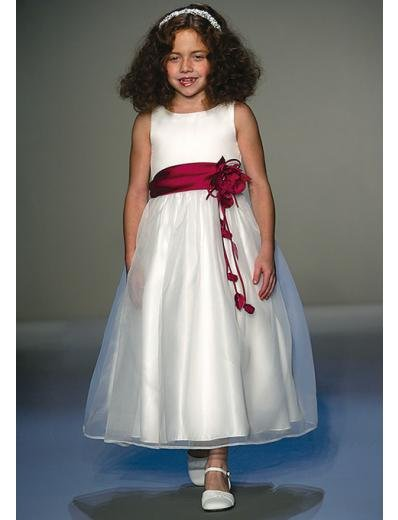 A-Line Round-neck Tea-length Organza Flower girls Dress new Style(FGD0034)