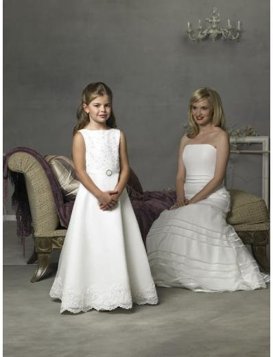 A-line Bateau Floor Length Satin Flower girls Dress NEW style(FGD0076)