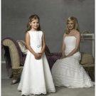 A-line Bateau Floor Length Satin Flower girls Dress NEW style(FGD0076)
