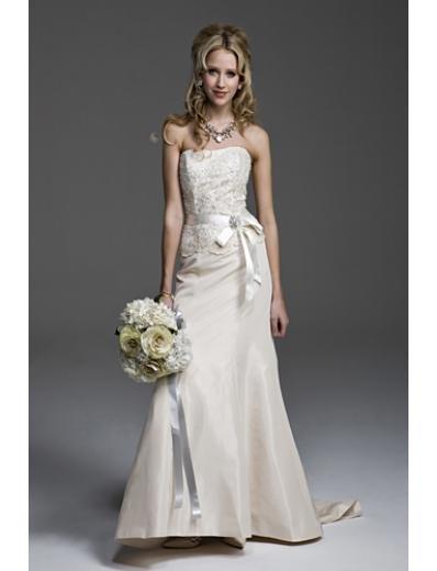 A-Line/Princess Strapless Chapel Train Taffeta wedding dress(WEDS0025) for brides new style