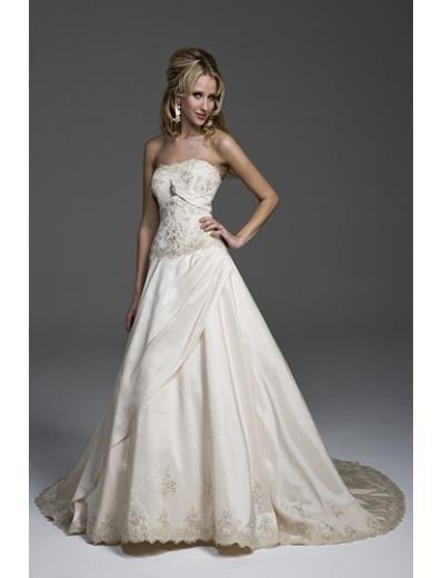 A-Line/Princess Strapless Chapel Train Taffeta wedding dress(WEDS0027) for brides new style