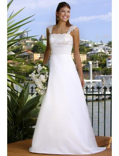 A-Line/Princess Square Chapel Train Satin wedding dress (WS0068) for brides new style